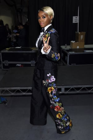 Janelle Monae backstage at the Grammys.