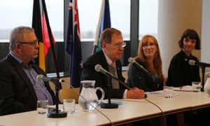 From left, Greg Davison, former high court justice Michael Kirby, Dr Kyllie Cripps and Megan Williams at a University of NSW panel debate on the health and social consequences of Indigenous incarceration, held for Naidoc week on Wednesday.