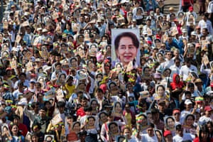 People show support for Aung San Suu Kyi in Yangon, Myanmar