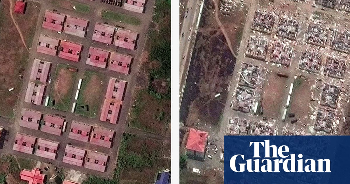Satellite and drone images show scale of destruction from Equatorial Guinea blast – video
