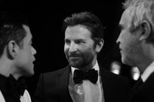 Rami Malek, Bradley Cooper and Alfonso Cuarón, director of Roma