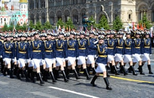 Servicewomen on the march. The parade is normally held on 9 May, the country's most important secular holiday. This year it was postponed because of the coronavirus pandemic