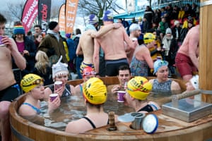 Participants warm up in welcome hot tubs.