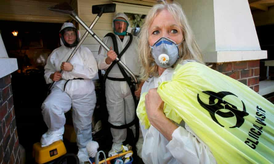 Sandra Pankhurst, right, and her colleagues on a clean-up.