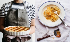 a composite image of emiko holding a pastry tart alongside a plate of pasta