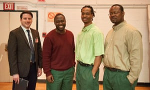 The Eastern New York Correctional Facility Bard Prison Initiative Debate Union team after the first debate with West Point in April 2014. It includes (left to right) David Register, Darryl Robinson, Rodney Spivey, and Paul Clue.