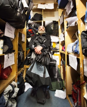 Homeless ex-soldier Steven McCann holds all his possessions in the store room