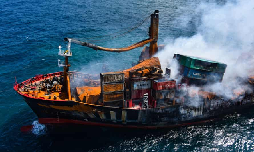 Smoke rises from the MV X-Press Pearl after an explosion off the coast of Sri Lanka