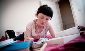 student in bedroom