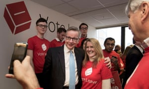 Michael Gove poses with Vote Leave activists at the weekend.
