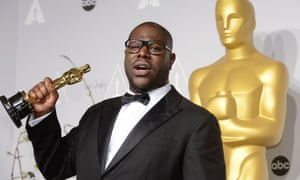 Artist and director Steve McQueen with his Oscar after winning the Best Picture award for 12 Years A Slave.