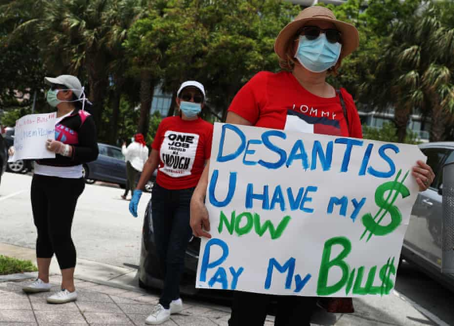 A protest in Miami Beach in May by unemployed workers who have not been sent benefits.