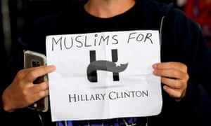 An audience member holds a 'Muslims for Hillary Clinton' sign during a campaign stop in Haverford, Pennsylvania, earlier this month.
