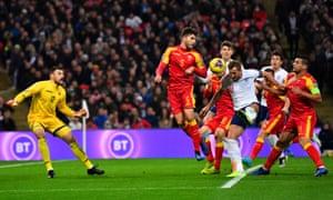 England's Harry Kane scores their second goal.