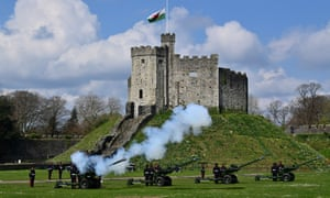 Reservists from 104 Regiment Royal Artillery fire guns during a Death Gun Salute to mark the death of Prince Philip, Duke of Edinburgh, at Cardiff Castle