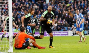 Callum Wilson celebrates after poking home Bournemouth's second equaliser at Brighton