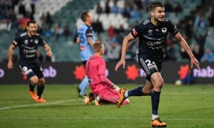 Melbourne Victory's Terry Antonis celebrates his extra-time winner after his calamitous own goal had thrown Sydney a lifeline in the dying moments of norm time.