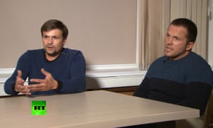 Ruslan Boshirov, left, and Alexander Petrov appeared on a Russian TV channel to deny wrongdoing.