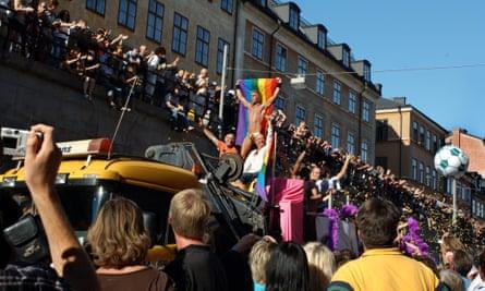 Crowds at Stockholm gay pride march