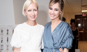 Glass with the model Suki Waterhouse at her New York show