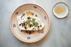 Ricotta, honey and pistachios