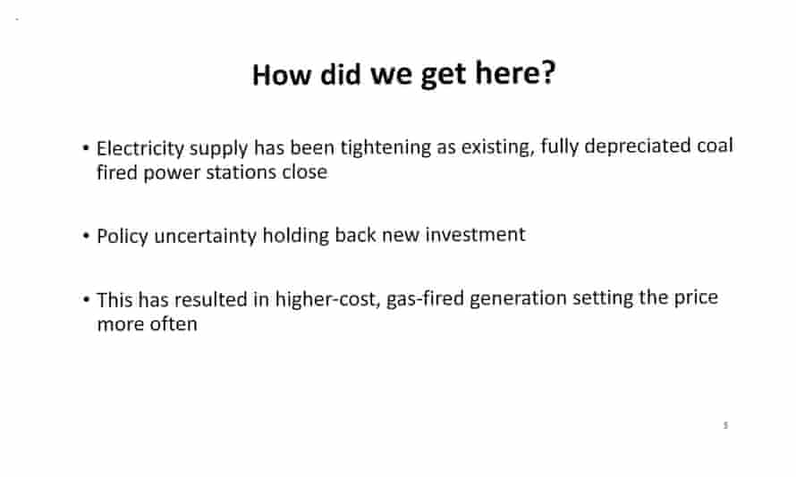 Page 5 of presentation by Josh Frydenberg to the Coalition party room on the Finkel review
