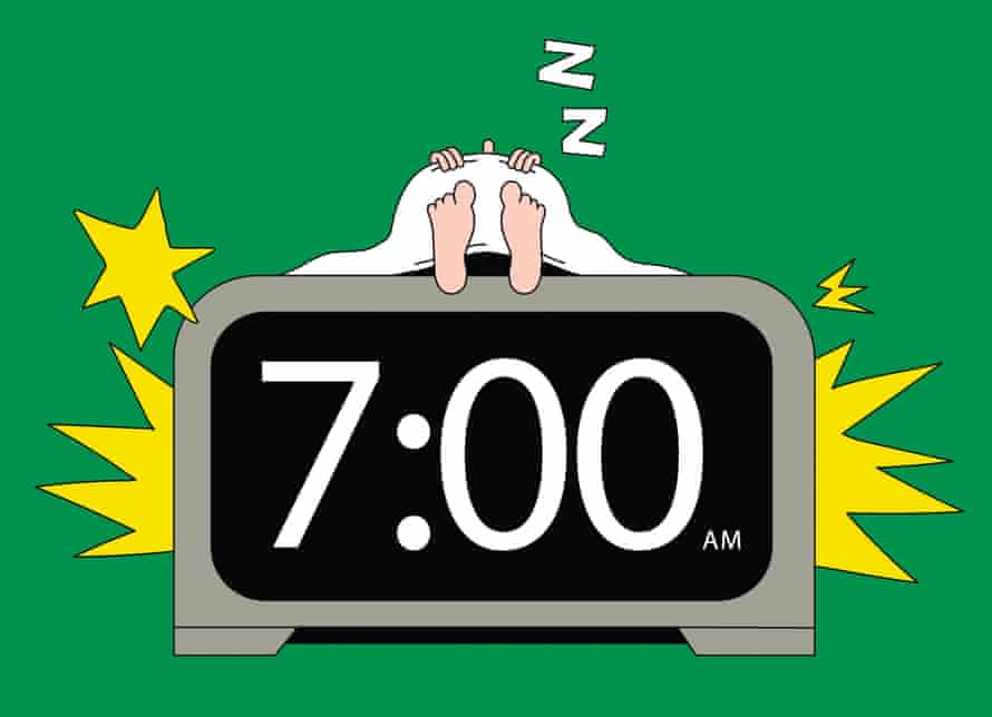 Illustration of someone asleep on a bed made of an alarm clock that is going off
