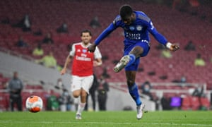 Leicester City's Kelechi Iheanacho shoots at goal.