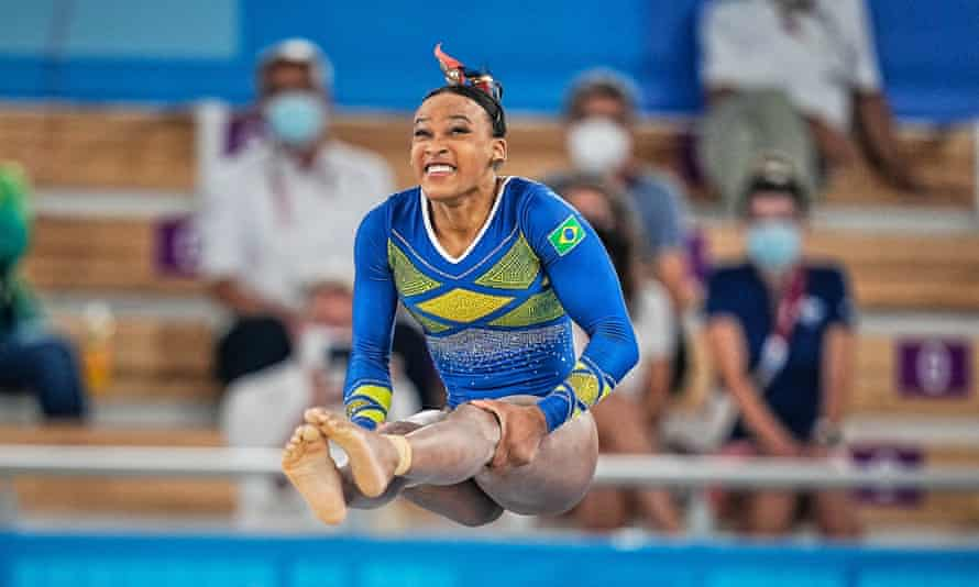 Rebeca Andrade won silver, the first Brazilian to win a medal in the all-around.