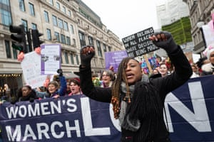 Shola Mos Shogbamimu at head of the Women's March in London