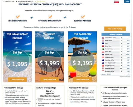A screenshot of a website offering corporate tax minimisation packages
