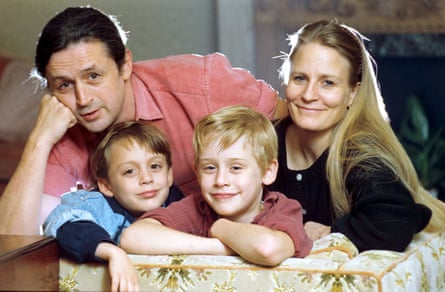 Kieran Culkin, left, front, in 1990, with his brother Macaulay Culkin, father Kit and mother Patricia.