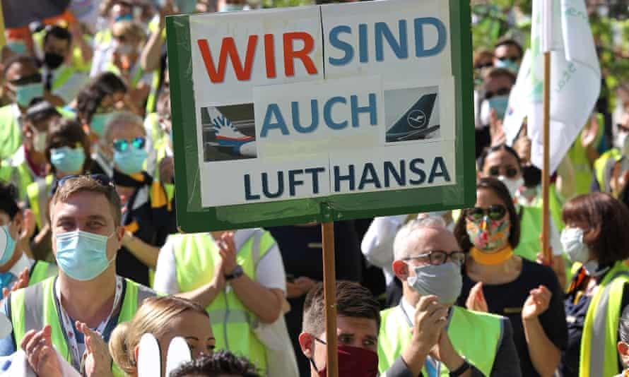Lufthansa employees call for a government rescue package at Frankfurt airport, Germany, 24 June 2020