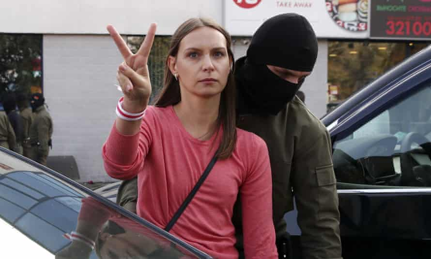 A law enforcement officer detains a protester during an opposition event Minsk at the weekend.