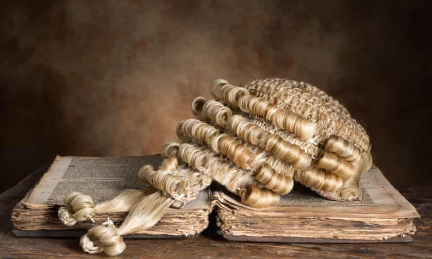 A barrister's wig on old book