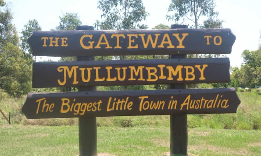 The highway sign on the turn off to Mulumbimby, reading 'The biggest little town in Australia'