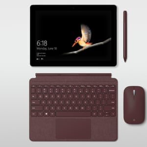 The Surface Go with the optional detachable keyboard, mouse and stylus.