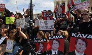 Protesters demonstrate against Brett Kavanaugh in front of the US supreme court court in Washington on 28 September.