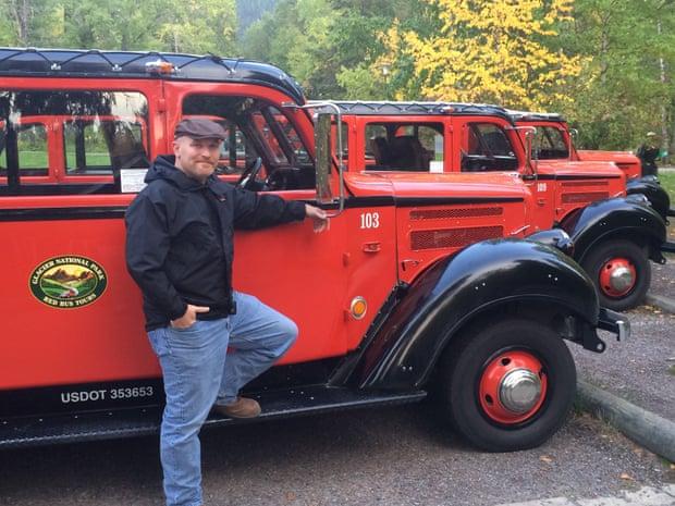 The world's best workplace … Glacier national park, Montana :   Tour guide David Eglsaer, Transportation Manager for GPI