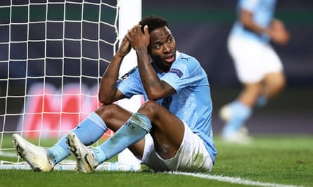 Raheem Sterling shows his disbelief after missing an open goal against Lyon.