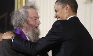 President Barack Obama presents a 2010 National Medal of Arts to poet Donald Hall, at the White House.