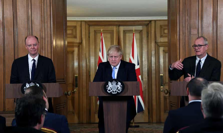 From left: the chief medical officer for England, Chris Whitty; the UK prime minister, Boris Johnson; and chief scientific adviser Sir Patrick Vallance at a news conference in Downing Street.
