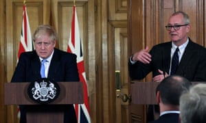 Boris Johnson with Patrick Vallance at a Downing Street conference.