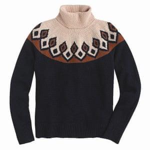 Black brown beige patterned top jumper Fair Isle knit jumper JCrew