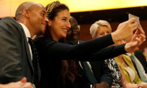 Luciana Berger takes a selfie with Chuka Umunna and Sam Gyimah