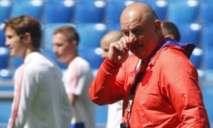 Russia head coach Stanislav Cherchesov leads training in Saint Petersburg. The hosts play Egypt on Tuesday evening.