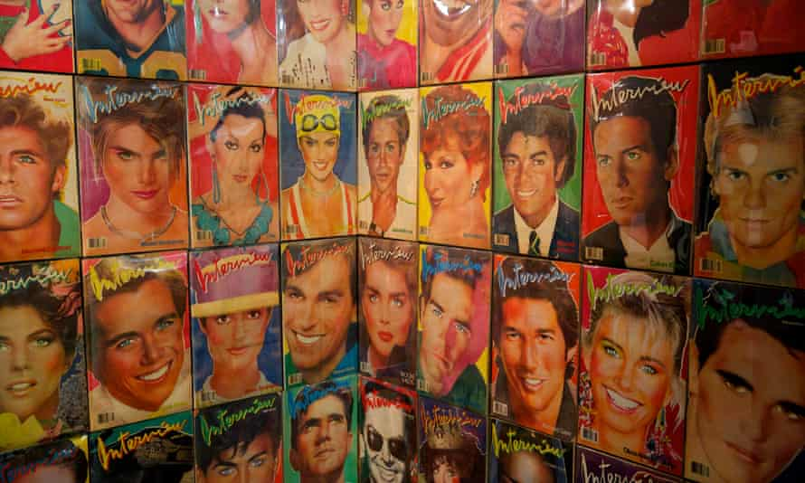 A selection of Interview magazine covers at the Transmitting Andy Warhol exhibition at Tate Liverpool in 2015.