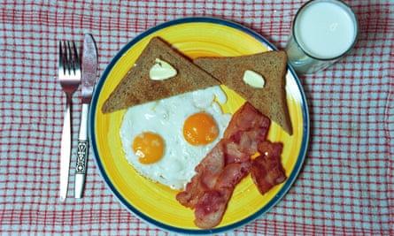 breakfast, bacon, eggs, toast