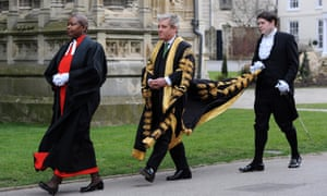 John Bercow with two Commons  officials, all in ceremonial dress