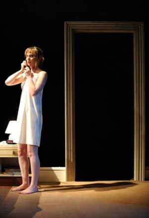Three More Sleepless Nights, 2009 Hattie Morahan (Dawn) in Three More Sleepless Nights at Lyttelton theatre. Designed by Naomi Dawson
